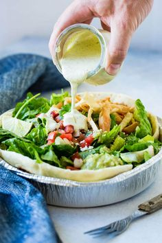 Looking for a Cafe Rio copycat recipe that wont take all day to make and tastes like the real thing? Try cafe rio creamy tomatillo cilantro ranch dressing! Salad Recipes For Dinner, Healthy Recipes, Healthy Salad Recipes, Easy Healthy Dinners, Mexican Food Recipes, Crockpot Recipes, Keto Recipes, Basil Recipes, Dip Recipes