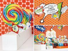 superhero vintage party with rainbow lollipops