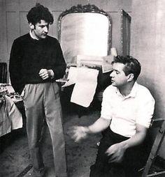 Lucian Freud and Francis Bacon in 1953 in Bacon's Battersea studio, London  photo by Daniel Farson