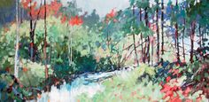 "Sheila Davis, Cool Light of Grace, oil on panel, 30""x60"". $2600"