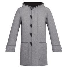Dior - grey wool hooded duffle coat