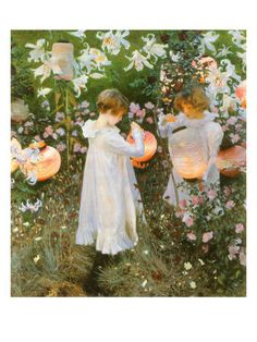 John Singer Sargent - Chinese Lanterns 1885  - otherwordly beautiful...in love with the light and the delicate feeling