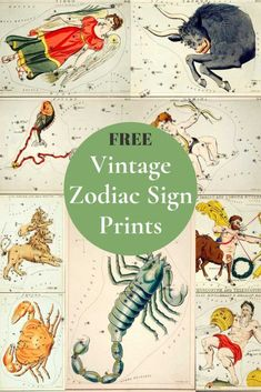 Free Vubtage Zodiac Pictures A wonderful collection of free vintage zodiac sign pictures to print. These zodiac illustrations of 11 twelve signs originate from 1824 by Sydney Hall. Fabulous framed as a gift or used in crafts. Gemini Sign, Zodiac Signs Aquarius, Virgo, Zodiac Signs Pictures, Constellation Chart, Project Gemini, Picture Boxes, Cancer Sign, Sign Printing