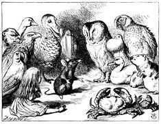 Alice and Animals in Circle | Alice in Wonderland illustrated by by John Tenniel.