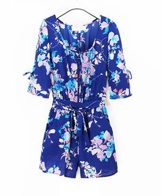 Retro Oversized Blue Chiffon Jumpsuit with Flower Print and Waistband