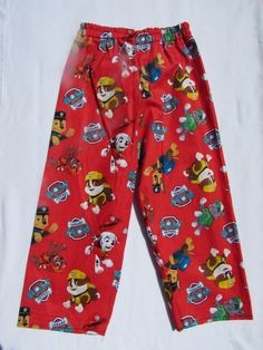 Red Paw Patrol pajama cotton pants by livenlovecreations on Etsy Cotton Pyjamas, Cotton Pants, Pajama Bottoms, Pajama Pants, Paw Patrol Pajamas, Feather Stitch, Elastic Thread, Red, Shirts