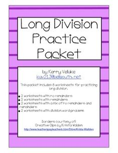 long division practice packet with 2 digit divisors teaching math long division math. Black Bedroom Furniture Sets. Home Design Ideas