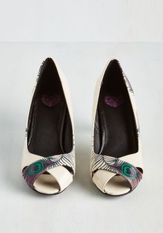 Proud Panache Heel. Banish the bashful wardrobe 'blahs' with these vibrant pumps by T.U.K.! #cream #wedding #modcloth