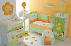 .Orange and green a nice bright option for babies room