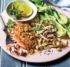 Seared Salmon On Garlic-And-Ginger Mushrooms With Bok Choi And Sesame -  Here's another wonderful salmon recipe to boost those omega-3s, and it's sophisticated enough to use for a dinner party if you're entertaining. This time we're using salmon portions and giving it an Asian twist.