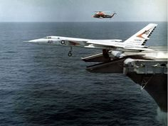 "Navy North American Vigilante (BuNo of Heavy Attack Squadron ""Smokin' Tigers"" being launched from the aircraft carrier USS Saratoga during operation ""Long Horn"". was assigned to Carrier Air Wing 7 aboard the aircraft carrier USS Independence Military Jets, Military Aircraft, Fighter Aircraft, Fighter Jets, Airplane Fighter, Photo Avion, Us Navy Aircraft, Aircraft Design, Navy Ships"