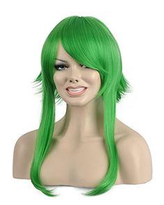 Diy-Wig High Quality Green Short Straight Oblique Bangs C... https  6e621ce86aed