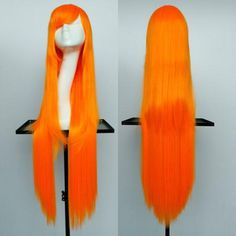 Oblique Bang Overlength Glossy Straight Synthetic Cosplay Anime Wig