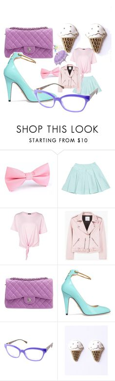"""""""lollipop walking"""" by alexandragabriellesabins ❤ liked on Polyvore featuring Versace, Prada, Boohoo, MANGO, Chanel, Gucci, Fendi and White Ice"""