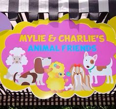 Puppy Themed Birthday Party. Petting zoo area with baby goats, bunnies, chicks and lots and lots of #puppies. Custom sign and props by #bambinisoiree #designplanplay