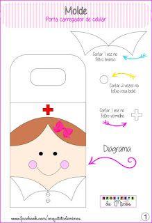 ARTESANATOS PRATES: Porta carregador de celular em feltro