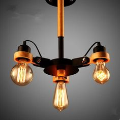 Wood Industrial Vintage Ceiling Light Lamp With 3 Edison Lights In Industrial Loft Style ,Lustres De Sala Teto