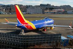 Southwest Airlines Boeing MAX in pre-delivery storage at Renton-Municipal, January (Photo: CJMoeser) Travel Planner, Trip Planner, Boeing Aircraft, Airplane Art, Southwest Airlines, Aviation, January 21, Air Planes, Commercial Aircraft
