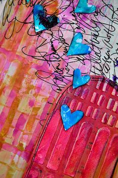 Dina Wakely- art journal page detail- color, penmanship, hearts