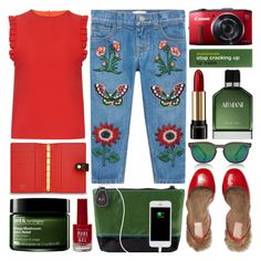 """""""Embroidered jeans"""" by barbarela11 ❤ liked on Polyvore featuring Gucci, Spektre, Mother of Pearl, New Look, Armani Beauty, Origins, Anatomicals and Lancôme"""