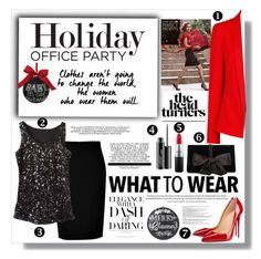 """Holiday Office Party"" by keri-cruz ❤ liked on Polyvore featuring Christian Louboutin, DKNY, Ann Taylor, Estée Lauder, MANGO, MAC Cosmetics, Home Decorators Collection, Sage & Co. and Balmain"