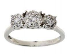 Genuine .50ct diamond 3stone ring 10KT white gold
