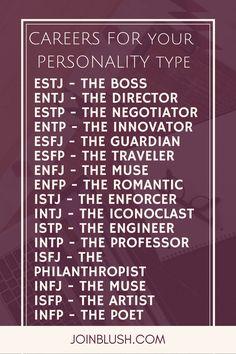 careers for personality, mbti, job, job advice, career advice, entj, estj, enfj, esfj, entp, enfp, estp, esfp, intj, istj, intj, infj, infp, isfp, isfj,infp, myers briggs, job help, career help, career change, job change