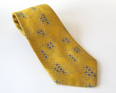 1970s Wide Vintage Tie Yellow and Blue Polyester Necktie by Sfuso