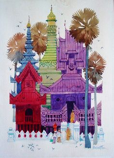 Bringing offerings at the monastery by Artist Paw Oo Thet.