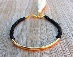 Gold tube bracelet Beaded Bracelet beaded bangle by Haneelove