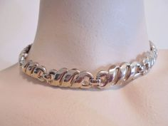 Vintage Collar/Choker Necklace Signed MONET Gold Plated Tone Retro Art Deco NICE #Monet #Collar