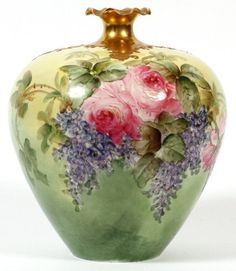 Willets Beleek porcelain hand painted bulbous vase, hand painted leaves and flowers with gold accents at nipped opening. Porcelain Jewelry, Fine Porcelain, Porcelain Ceramics, Painted Porcelain, Painted Vases, Hand Painted, Keramik Vase, Vintage Vases, China Painting