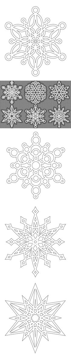 half dozen snowflakes to color Free Snowflake colouring pages - from Shala at Don't Eat the Paste (these would make wonderful cutting files!)Free Snowflake colouring pages - from Shala at Don't Eat the Paste (these would make wonderful cutting files! Kirigami, Christmas Colors, Christmas Crafts, Christmas Decorations, Christmas Ornaments, Christmas Snowflakes, Xmas, Snowflake Coloring Pages, Colouring Pages