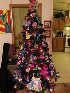 This is my My Little Pony Christmas Tree! My Little Pony Christmas Tree Colorful Christmas Tree, Christmas Tree Themes, Christmas 2014, Little Christmas, Xmas Decorations, Christmas Ideas, Merry Christmas, Trees For Kids, Brat Doll