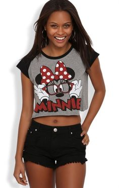 Short Sleeve Raglan Disney Crop Top  with Minnie Mouse Screen