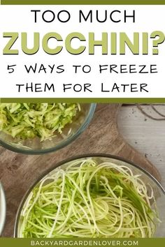 Are you overwhelmed with too much zucchini? Here are 5 easy ways to freeze zucchini for later. You'll love having veg from your garden af… Preserving Zucchini, Canning Zucchini, Preserving Food, Zuchinni Recipes, Veggie Recipes, Freezer Recipes, Zucchini Bread, Freezer Cooking, Cooking Tips