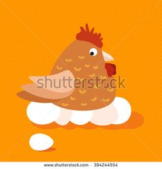 Funny flat cartoon chicken sitting on eggs and looking on egg that rolled away. Fat brown farm bird vector eps10 illustration. Vector colorful chicken concept. Chicken on orange pattern background. - stock vector