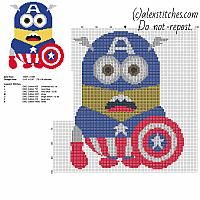 Minion Captain America from cartoon Despicable Me free cross stitch pattern 79 x 96 stitches 7 DMC threads colors