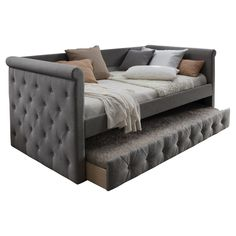 Upholstered Daybed with Trundle Gray - Home Source interior design internships - Interior Design Home Bedroom, Bedroom Decor, Bedroom Ideas, Bedrooms, Single Couch, Bedroom Furniture, Home Furniture, Furniture Buyers, Luxury Furniture