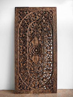 Balinese Bed Headboard. Teak Carved Wood Wall Art Hanging Decorative. Motif Lotus Flower.(6'x3' Ft. Extra Thick. Dark Brown Wash)