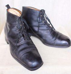 CLASSIC AMERICAN WORKWEAR: VINTAGE 1910s- 1920s MEN'S LEATHER DRESS/ WORK BOOTS #Unbranded #Boots