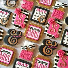 Bridal Shower cookies Kate Spade inspired: