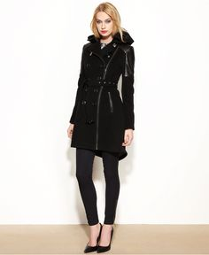 BCBGeneration Coat, Double-Breasted Wool-Blend Hooded High-Low - Coats - Women - Macy's