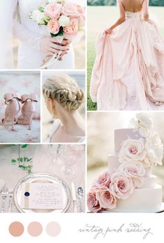 Inspiration Board: Vintage Pink Wedding. Dress is by Carol Hannah, photography by Jose Villa.