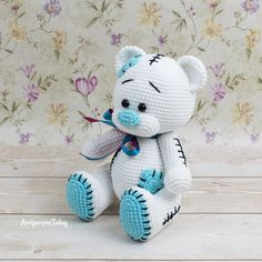 Free Teddy Bear amigurumi pattern designed by Amigurumi Today Crochet Teddy Bear Pattern Free, Teddy Bear Patterns Free, Crochet Amigurumi Free Patterns, Crochet Animal Patterns, Crochet Bunny, Doll Patterns, Crochet Elephant, Rag Dolls, Fabric Dolls