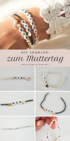 DIY Armband zum Muttertag – MOM Armband DIY gift for Mother's Day crafts ♥ ️ DIY bracelet instructions Diy Jewelry Rings, Diy Jewelry Unique, Diy Jewelry To Sell, Jewelry Crafts, Mom Jewelry, Bracelet Crafts, Diy Gifts For Mothers, Mother Gifts, Diy Bracelets For Mom