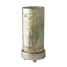 Sterling Industries Gilded Sea Hurricane - Small. Made from glass with mercury finish and aluminum Pillar candle suggested Hand applied finish.