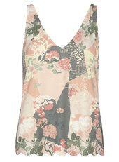 Oriental Floral Scallop Vest Top