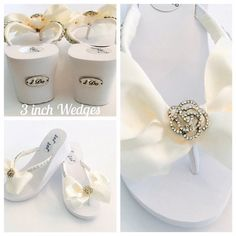 Bridal FLip Flops/3 WEDGES Wedding Flip Flops.Wedding
