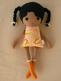Fabric+Doll+Rag+Doll+Girl+With+Black+Braids+and+by+rovingovine,+$35.00